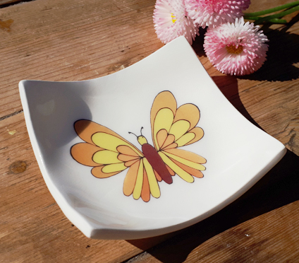 Large Yellow Butterfly Earring Dish